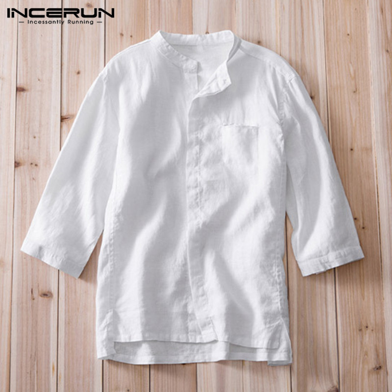 Chinese Style Mens Shirt Cotton Linen Plain Dress Social Shirts Three Quarter Tee Loose 3XL Male Casual Shirt Camiseta Masculina