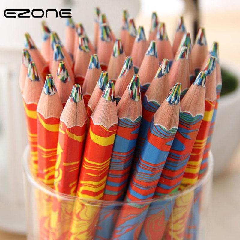 EZONE 1PC Rainbow Color Pencil For Children Kids Painting Graffiti DIY Scrapbook Six Color Pen School Art Supply Pastille Pencil