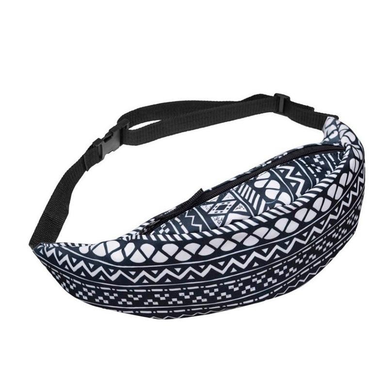 Women's Bags black+white Fashion Sports Hiking Running Belt Waist Bag Pouch Zipper Bag