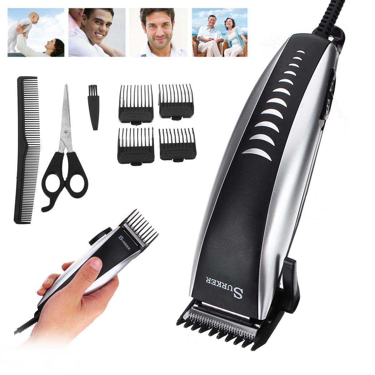 220-240V 50Hz 12W Professional Men Electric Hair Trimmer Clipper Cutting Kids Man Adult Anti Slip Set Scissor EU Plug Adjustable