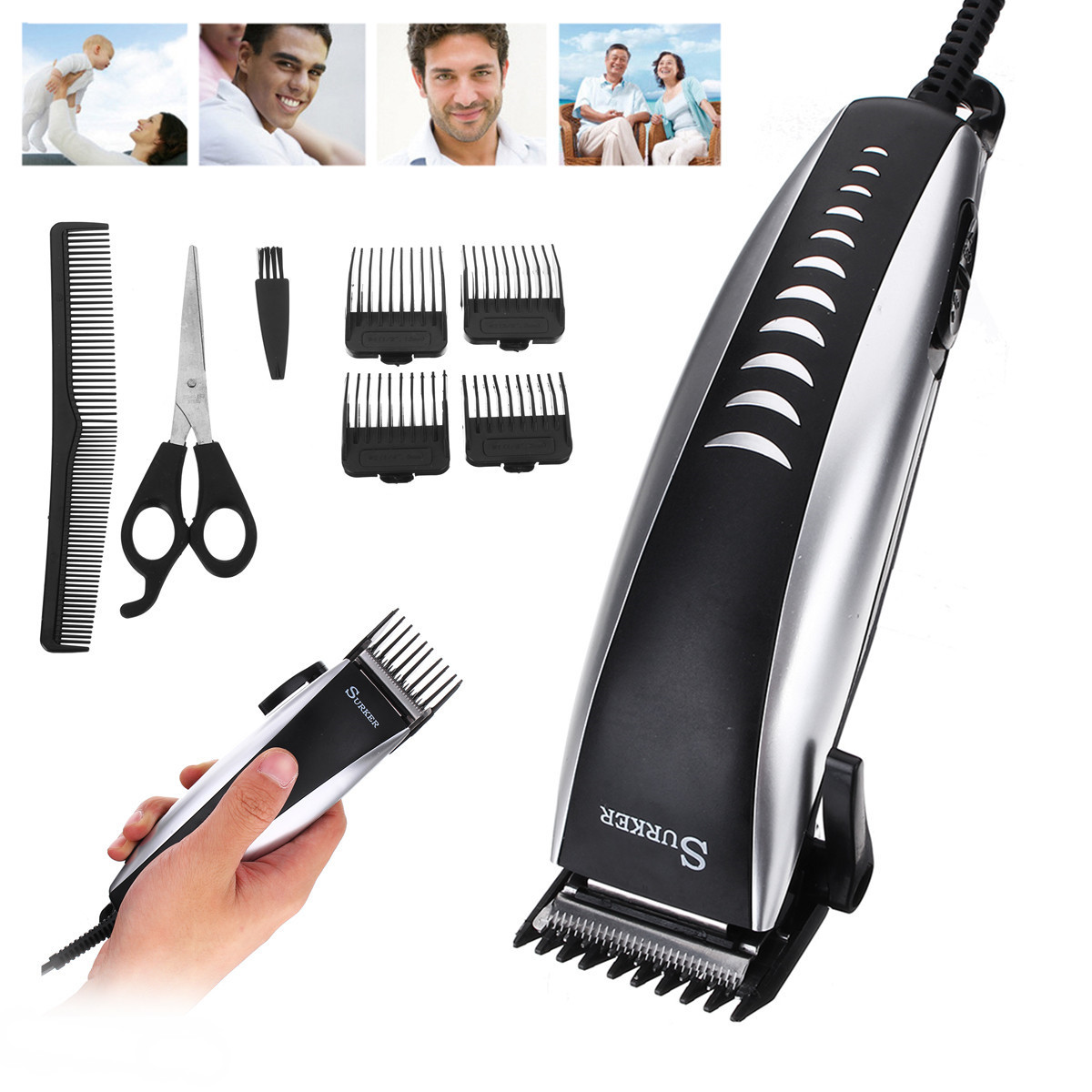 220-240V 50Hz 12W Professional Men Electric Hair Trimmer Clipper Cutting Kids Man Adult Anti Slip Set Scissor EU Plug Adjustable