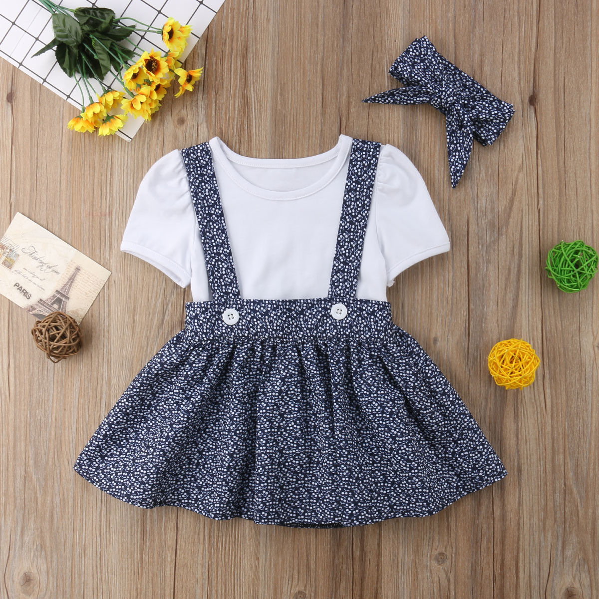 MOIKA Toddler Kid Baby Girl Princess Dress Clothes Sleeveless Rainbow Printed Button Denim Dress with Pockets Blue 6 Months-4 Years Old