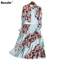 Hoge Kwaliteit Designer Runway Vrouwen Jurk 2019 Lente Vrouw Kleding Lange Mouw Bloemenprint Overhemd Kraag Midi Geplooide Jurken