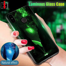 Luminous Glass Case For Xiaomi Redmi Note 5 5 Plus 6 Pro 6A 4X Pattern Phone Case For Xiaomi Mi A1 A2 Lite Silicone Cases Cover(China)