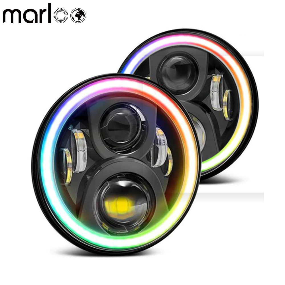 Marloo 7Inch Round Project LED Headlights RGB Halo For Jeep Wrangler JK Bluetooth Phone APP Control