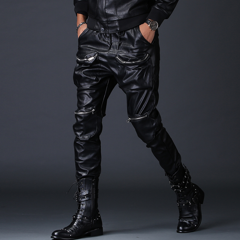 Casual En Hommes Hop Élastique Streetwear Noir Faux Ressort Biker Pantalon Cuir 2250 Glissière Moto Pu Poches À Hip Harem BcwqC