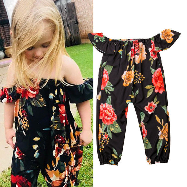 7fb2214e4d9 2019 Summer Kid Baby Girls Off Shoulder Flower Romper Short Sleeves Jumpsuit  Outfits Playsuit Casual Clothing