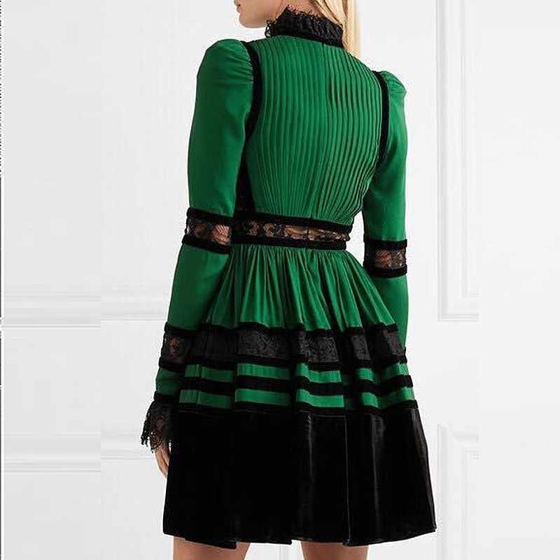 CHICEVER/Лоскутные Бархатные платья для женщин с длинным рукавом, сексуальные кружевные вечерние шифоновые платья, женские большие размеры 2019, новые модные осенние платья