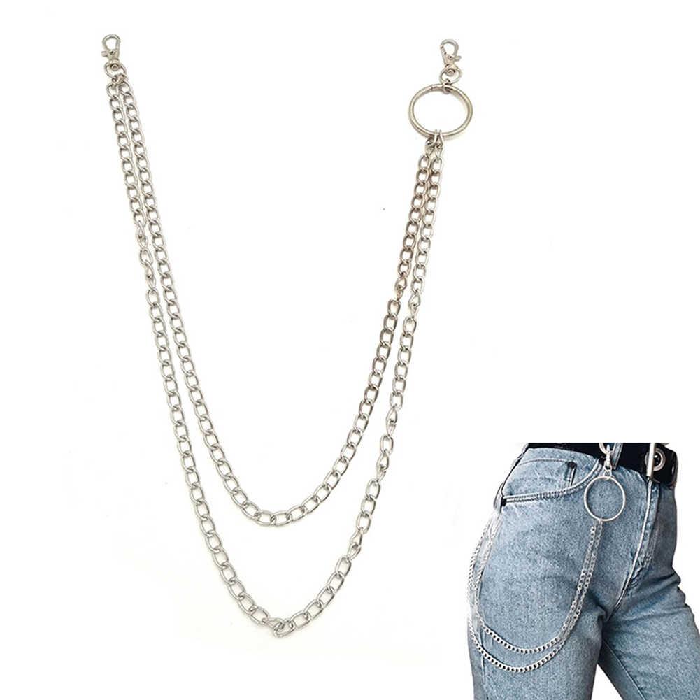 1-3 katmanlı kaya Punk kanca pantolon pantolon bel bağlantı kemer Metal cüzdan gümüş zincir Hip Hop zincir kemerler kadınlar için aksesuarları