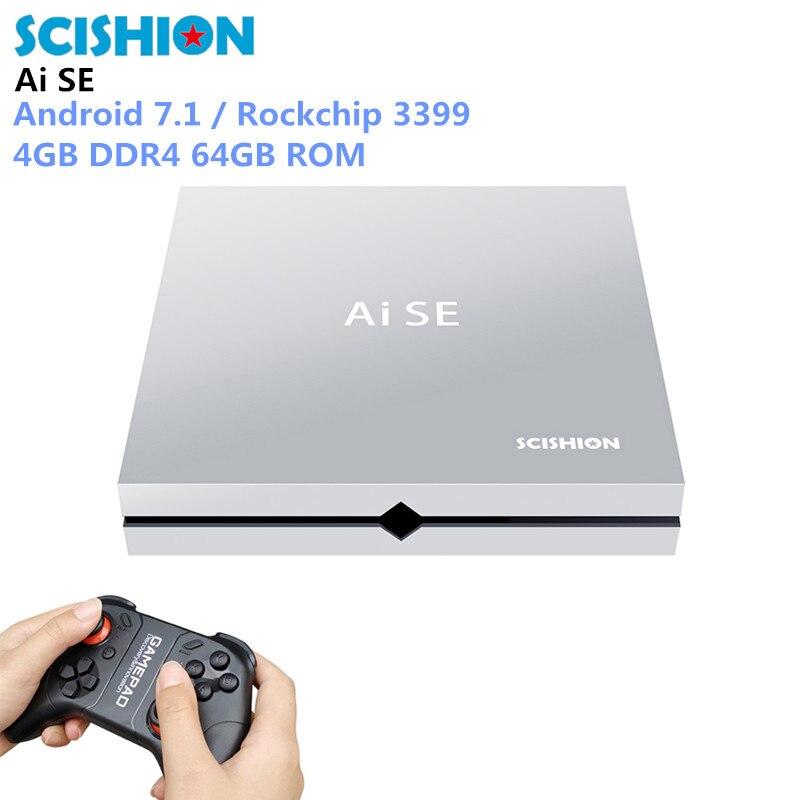 Ai SE Scishion Caixa Do Jogo Android 7.1 Rockchip 3399 Caixa de TV Inteligente 4 GB DDR4 64 GB ROM Set Top caixa Multimídia Player Com Gamepad