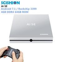 Scishion Ai SE Smart Game Box TV Box Android 7.1 Rockchip3399 4GB DDR4 64GB ROM 64Bit Set Top Box Multimedia Player With Gamepad
