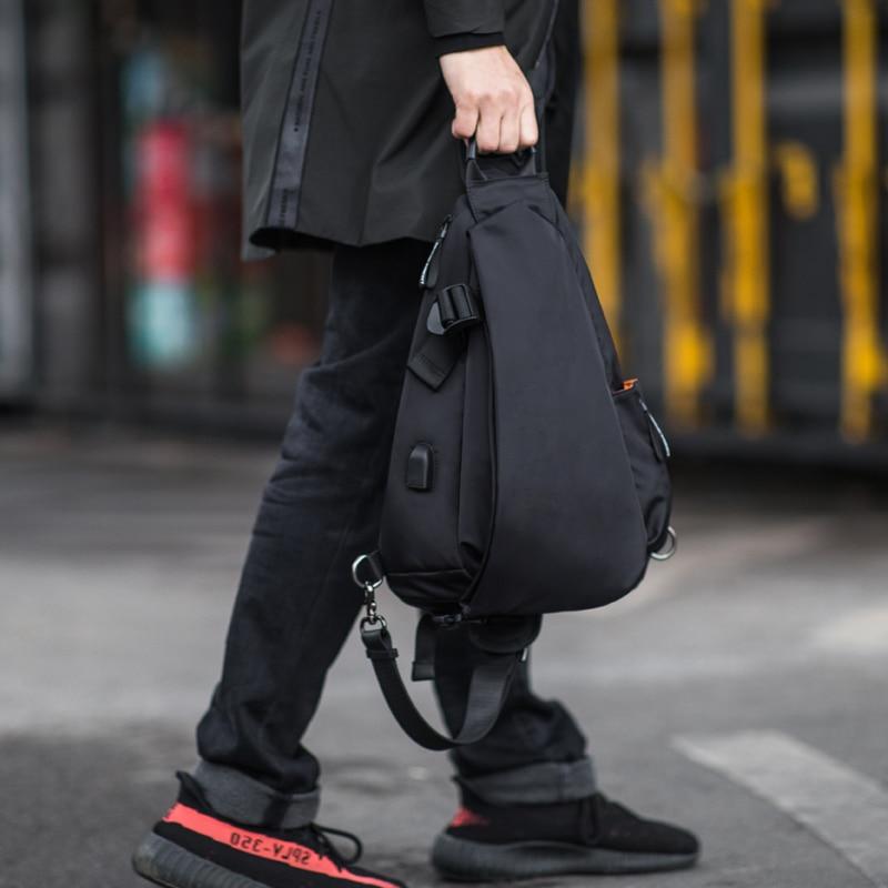 هونج كونج متعددة الوظائف الأزياء Crossbody أكياس الرجال USB شحن الصدر حزمة قصيرة رحلة رسل حقيبة المياه طارد حقائب كتف-في حقائب كروسبودي من حقائب وأمتعة على  مجموعة 2