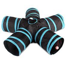 실용적인 고양이 터널 5 웨이 Foldable 애완 동물 장난감 터널 토끼 고양이와 개 게임 파이프 블랙 블루