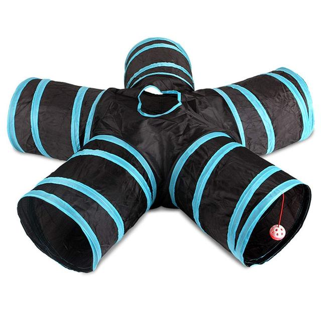 Practical Cat Tunnel 5 Way Foldable Pet Toy Tunnel  Rabbit Cat and Dog Game Pipe Black blue