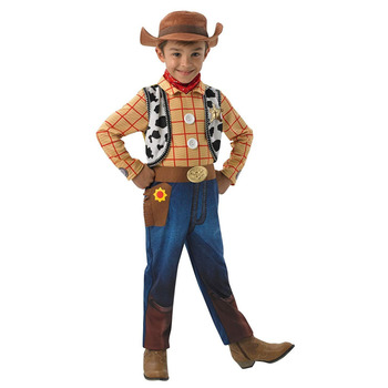 Gorąca sprzedaż chłopców toy story Woody Deluxe dzieci kostiumy kostiumowe tanie i dobre opinie memune Jumpsuits Rompers Movie TV Chłopcy Zestawy HS0001 Polyester Heat-transfer 70D polyknit Nonweaven Poplin Polybag