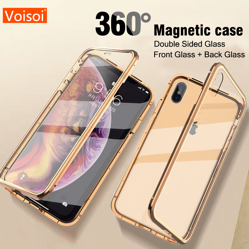 Phone Case for iPhone XS MAX X XR 7 8 Plus Case Metal Magnet Cover Double sided glass Magnetic Adsorption 360 Full Protection iphone xr case magnetic