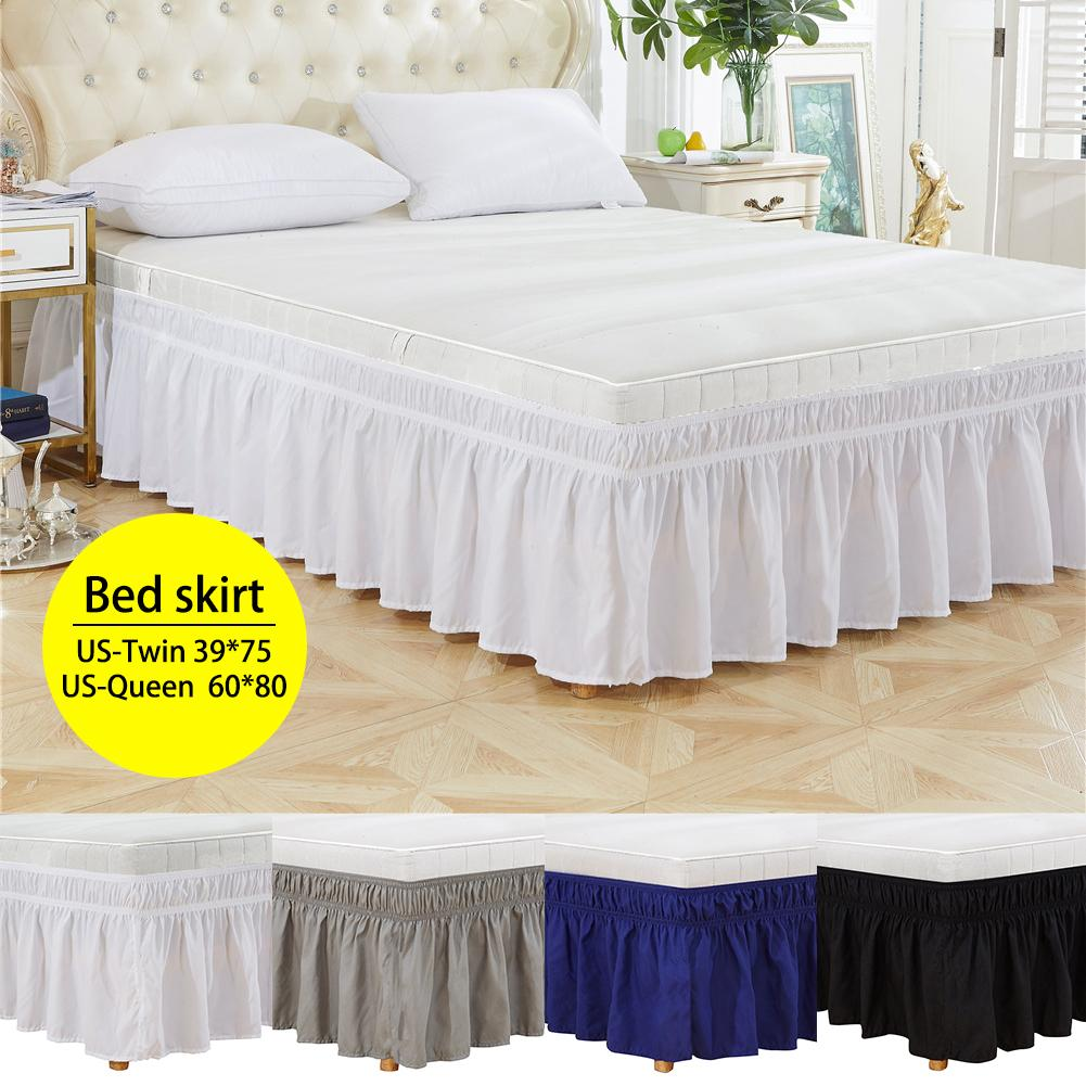 Bed Sheet Solid Color Around Bed Skirt Elastic Bed Ruffles Easy Fit Wrinkle Resistant Bed Skirts Bed Cover Bedding Pillow