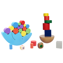 Деревянный Монтессори игрушки для детей-2 комплекта деревянные Луна и башня укладки балансные блоки игрушки