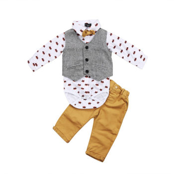 3 piece Fashionable Vest Shirt and Pants Set for Baby Boys Autumn Winter Handsome Clothing Boys Clothing Sets