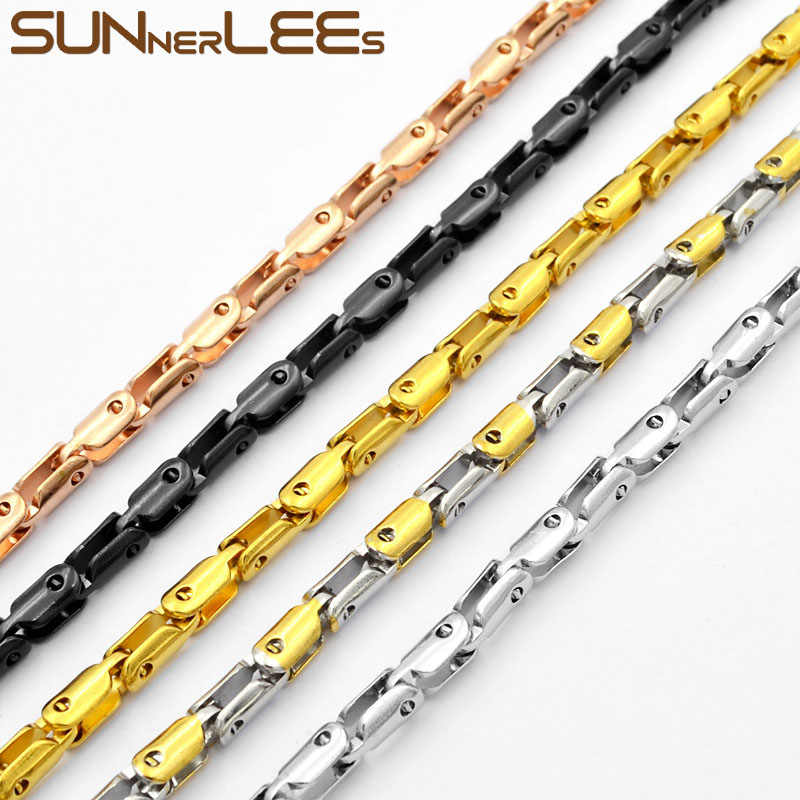 SUNNERLEES Stainless Steel Necklace 3~4mm Geometric Link Chain Silver Gold Black Men Women Fashion Jewelry Gift SC95 N