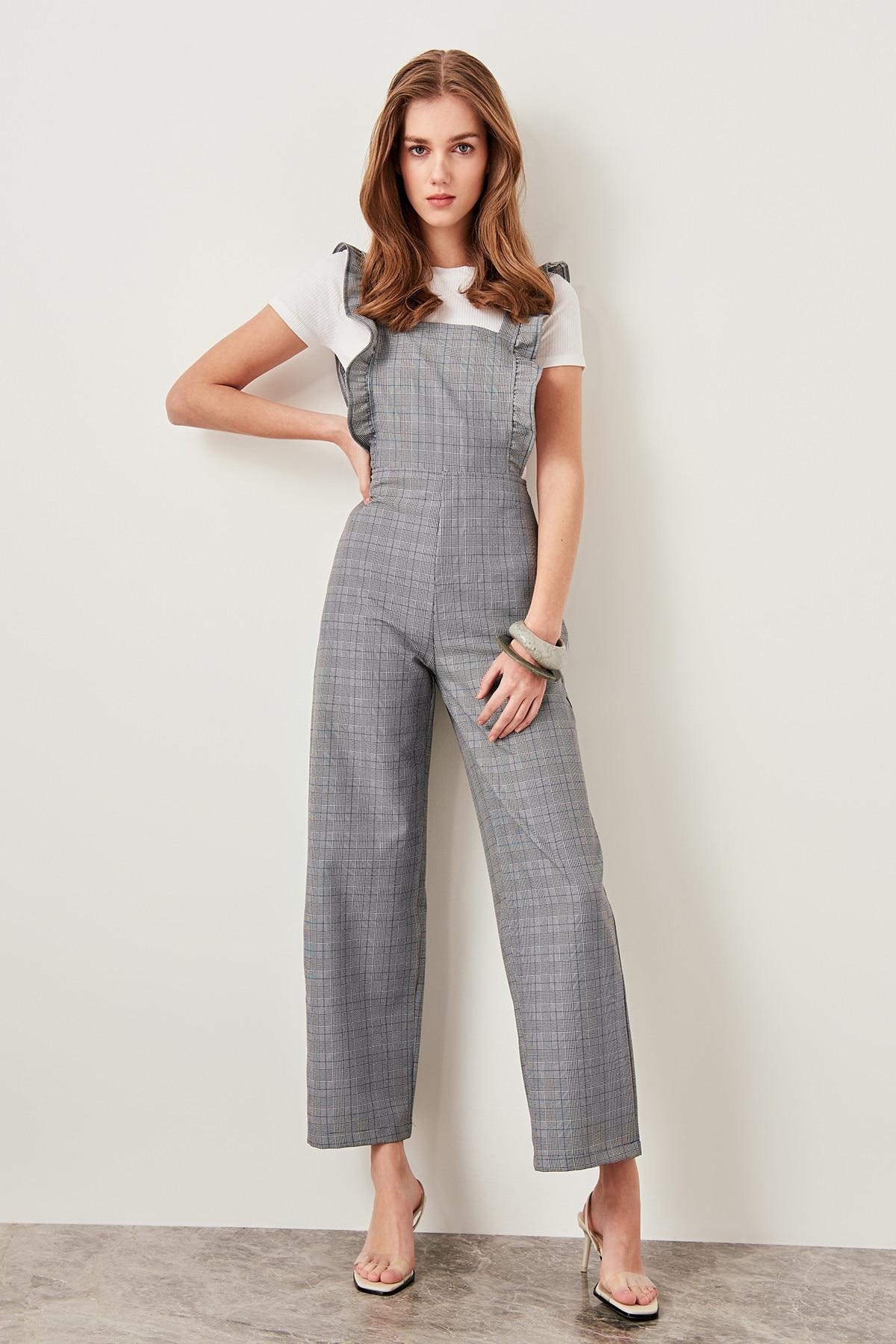 Trendyol Gray Ruffle Detailed Jumpsuits TWOSS19AP0121