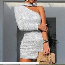 Jocoo Jolee Women One Shoulder Glitter Party Dress Sexy Silver Halter Slim Mini