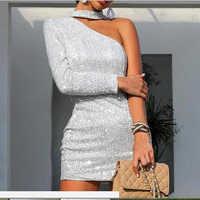 Jocoo Jolee las mujeres hombro brillo de fiesta vestido Sexy de plata ajustado de cuelo Halter Mini vestidos brillantes Primavera Verano vestido de Mujer