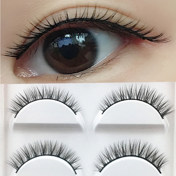 YOKPN 5 Pairs Short False Eyelashes Natural Cross Soft Fake Eyelashes Grinding Tip Daily Nude Makeup Eye-tailed Long Lashes