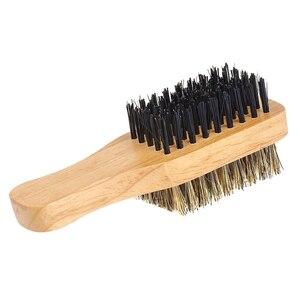 Image 5 - Cepillo de barba para hombre, doble cara, peine de afeitar, bigote, mango de madera maciza, tamaño opcional