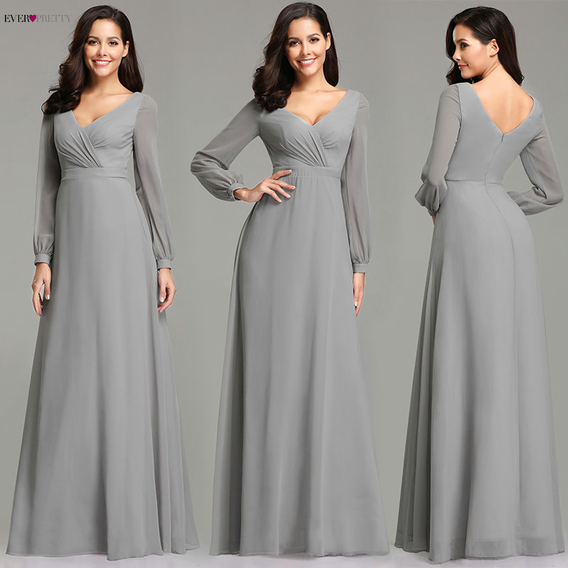 Affordable Wedding Guest Dresses: Grey Evening Dresses Long 2019 Ever Pretty Plus Size V