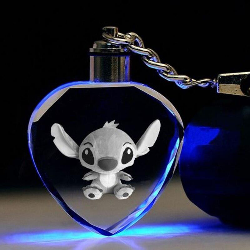 1 Pc Lovely Cartoon Stitch Heart Crystal Keychain Colorful Led Keyring Pendant Luminous Toy