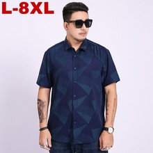 2019 Summer New plus Size Men Shirt 6xl 7xl 8xl Male Casual Print Short Sleeve Hawaii Brand Mens Clothing 4xl Xxxl