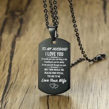 To My Husband I Love You Dog Tag Pendant Necklace for Men Stainless Steel Personalised Engraved Male Jewelry 20 inch(China)