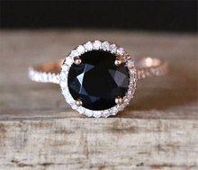 925 ayar gümüş renk stil kadın doğal siyah yakın yüzük kakma zirkon elmas taş gül altın geometrik takı