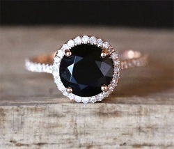 925 Sterling Silver Color Style Women's Natural Black Close Ring Inlaid Zircon Diamond Gemstone Rose Gold Geometric Jewelry
