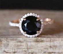 925 Sterling Silver Fashion Style Womens Natural Black Close Ring Inlaid Zircon Diamond Gemstone Rose Gold Geometric Jewelry