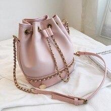 Women Bag 2019 PU Leather Shoulder Bag Fashion Chain Bucket Bag Bolsa Feminina Luxury Handbags Women Bags Designer Bolsos Mujer