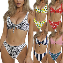 Printed Bikini Sets European New Style Tie Double-Sided Multi-Color Sexy Split Swimsuit