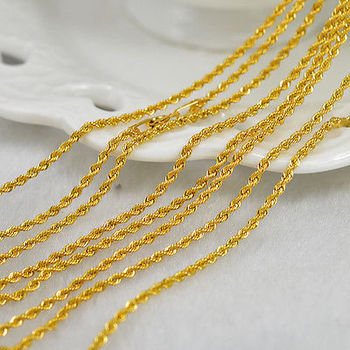 Authentic 18K Yellow Gold Necklace/ Men&Women Rope Chain Necklace/ 2-3g 1