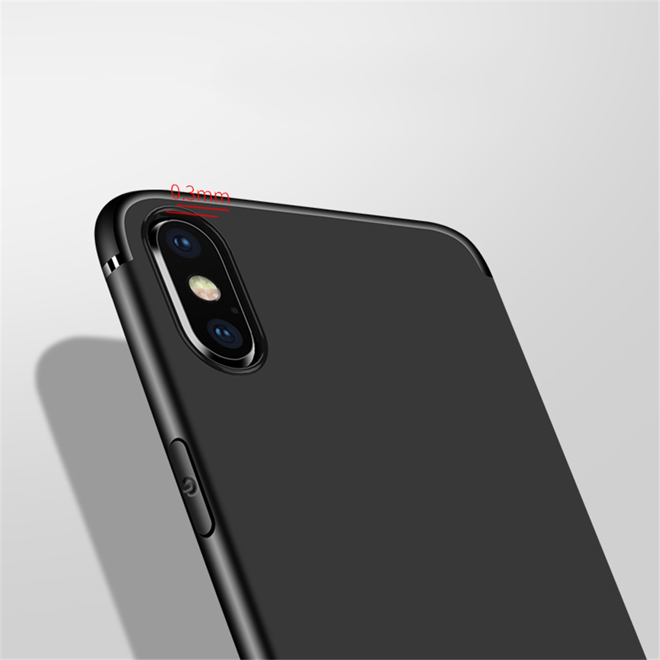 Simple Soft Plain Black Matte Case for iPhone X XR Xs Max 8 7 6 6s Plus 5 5S SE Ultra Slim Silicone TPU Back Cover Capa Coque in Fitted Cases from Cellphones Telecommunications