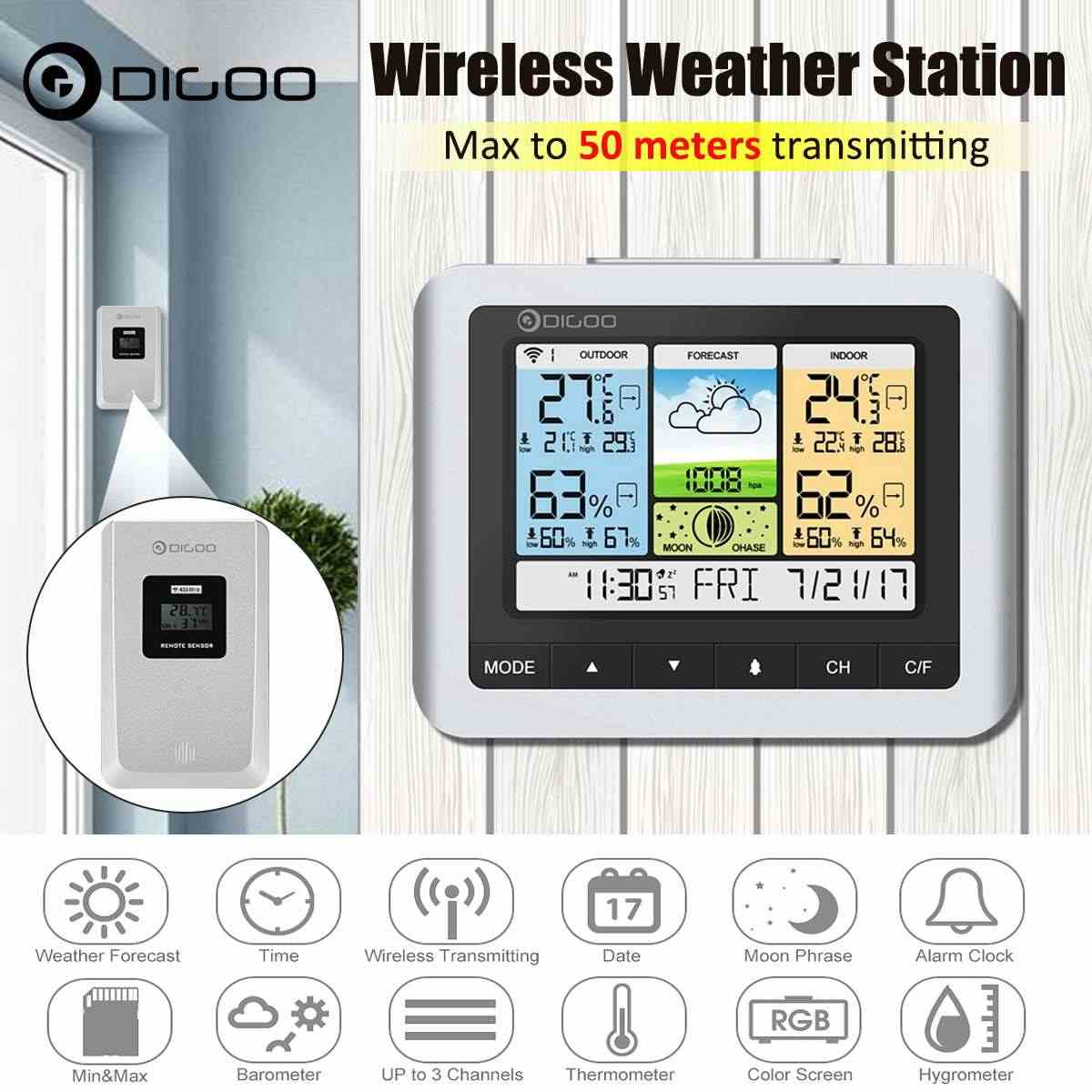 Digoo DG-TH8888 Warna Putih Wireless Weather Station Rumah Digital Thermometer Kelembaban Meter Usb Outdoor Cuaca Sensor Jam