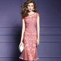 womens summer mermaid dress Plus Size 2018 Superior quality autumn elegant sexy embroidery Party Dress office lady Vintage dress