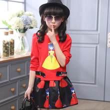 55cbf6e43 2 piezas nuevo niños ropa conjunto rojo blanco camisetas + faldas 6 7 8 9  10 11 12 13 14 conjunto de ropa de años para niñas ado.
