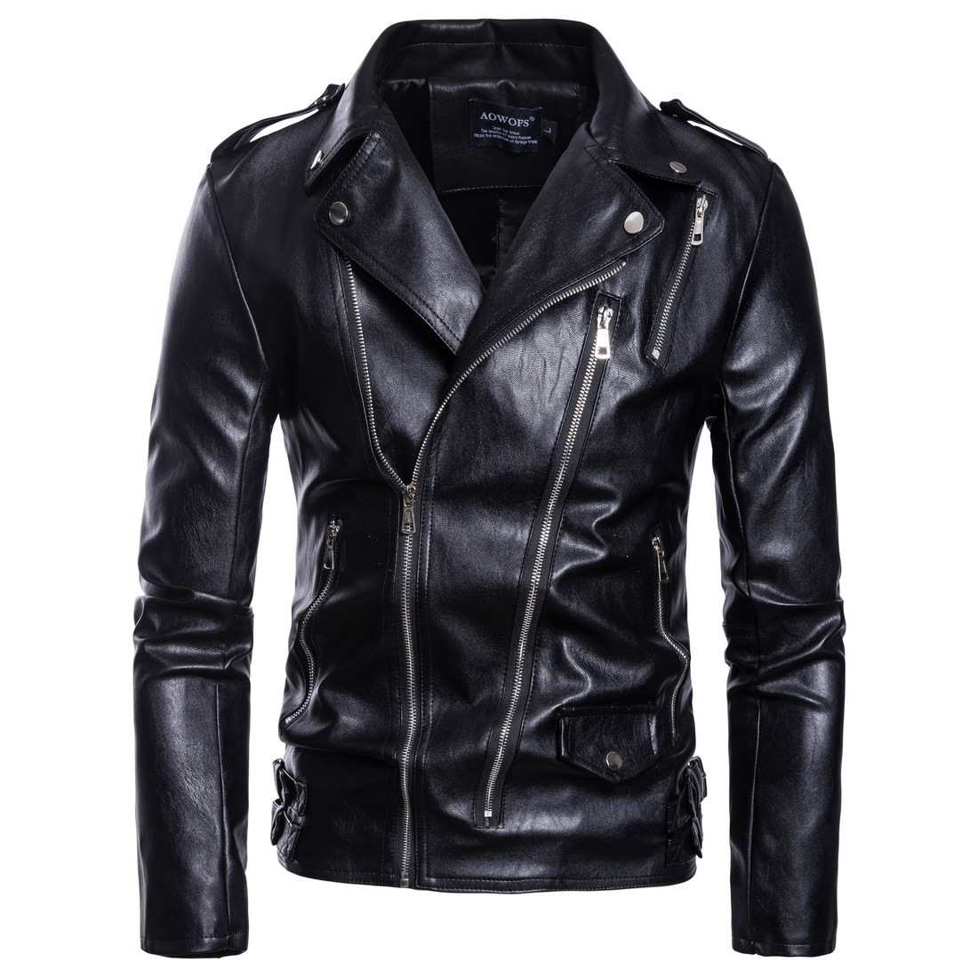 5168c3ebb US $37.15 35% OFF Black Plus Size Motorcycle Leather Jacket Men Classic  Design Multi Zippers Biker Jackets Male Bomber Leather Jackets Coats 5xl-in  ...
