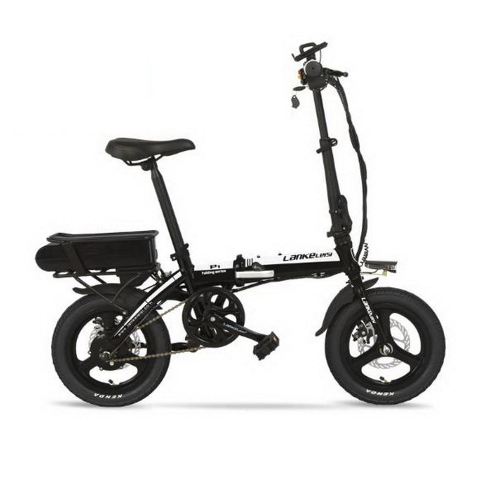 LANKELEISI 14 pouces 48 V batterie au lithium voiture électrique hybride vélo électrique ultra-léger facile à transporter mini e-bike adulte