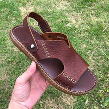 US Size Men Slides Shoes Lichee Grain Genuine Leather Casual Sandals Man Slippers Summer Outdoor