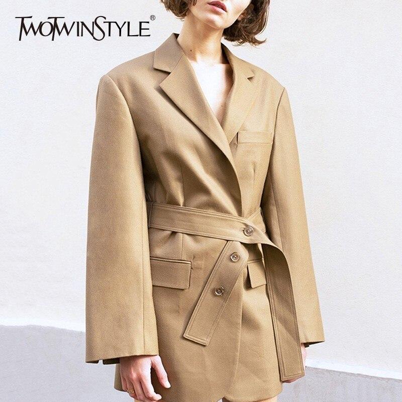 TWOTWINSTYLE Vintage Blazer Coat Female Long Sleeve Bandage High Waist Suits For Women Spring 2019 England