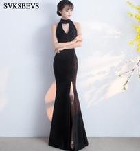 SVKSBEVS Luxury Crystal Halter Mermaid Sexy Split Long Dresses 2019 Elegant Off The Shoulder Party Maxi Dress