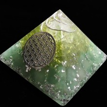 AURA REIKI Anahata Orgonite Aura Crystal Pyramid Peridot Energy Chamuel Flower Of Life 9cm Family Decoration