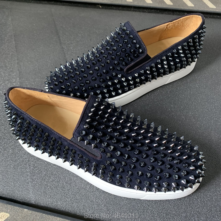 Low Cut Sneakers Leisure cl andgz Slip On Full Ink blue patent leather Spikes Red bottoms